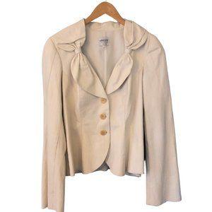 New Armani White Italian Leather Jacket Bow Collar